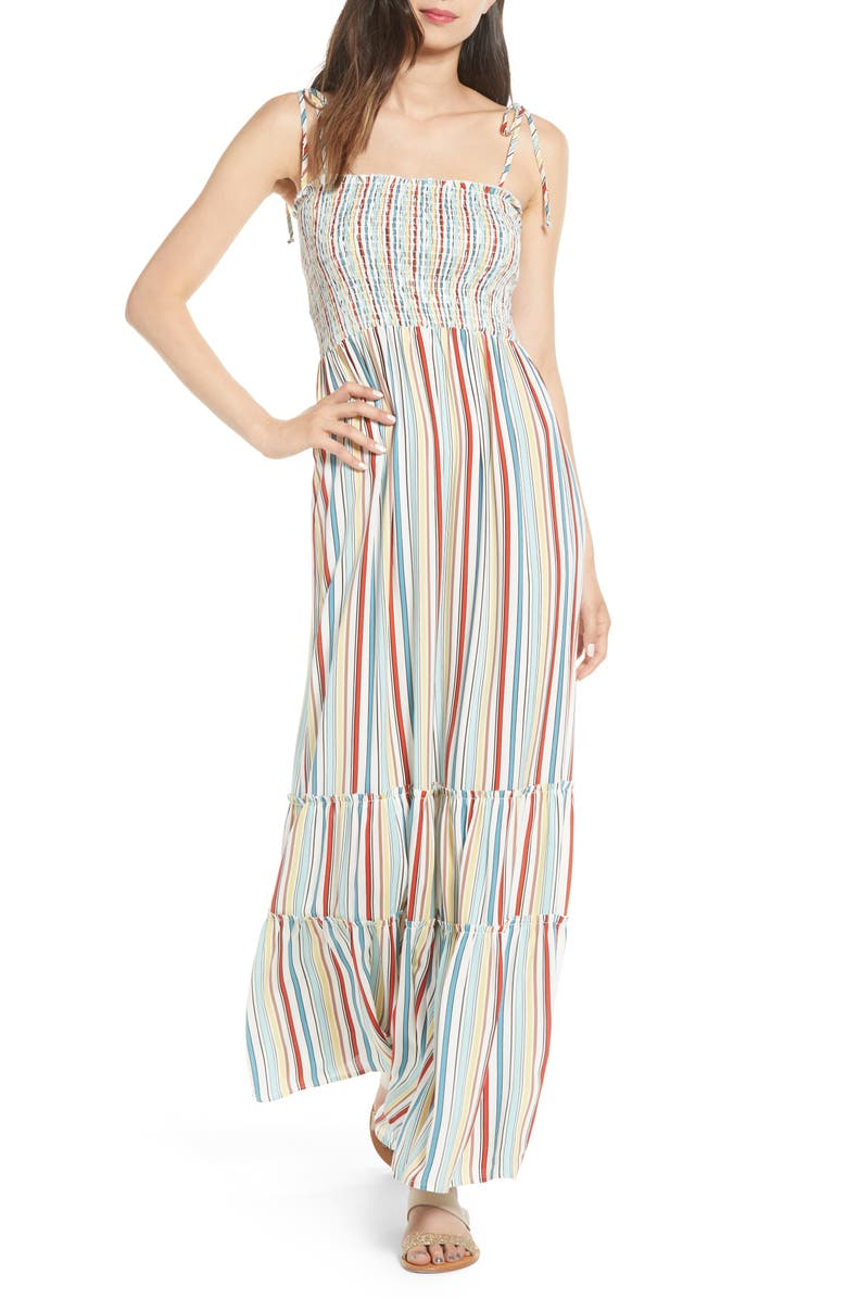SOCIALITE Smocked Stripe Maxi Dress, Main, color, WHITE/ BLUE/ RED