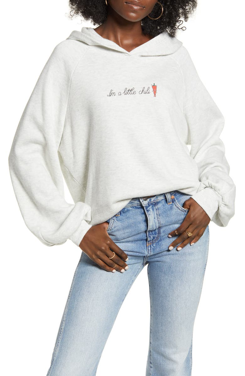 PROJECT SOCIAL T I'm a Little Chili Hoodie, Main, color, OATMEAL
