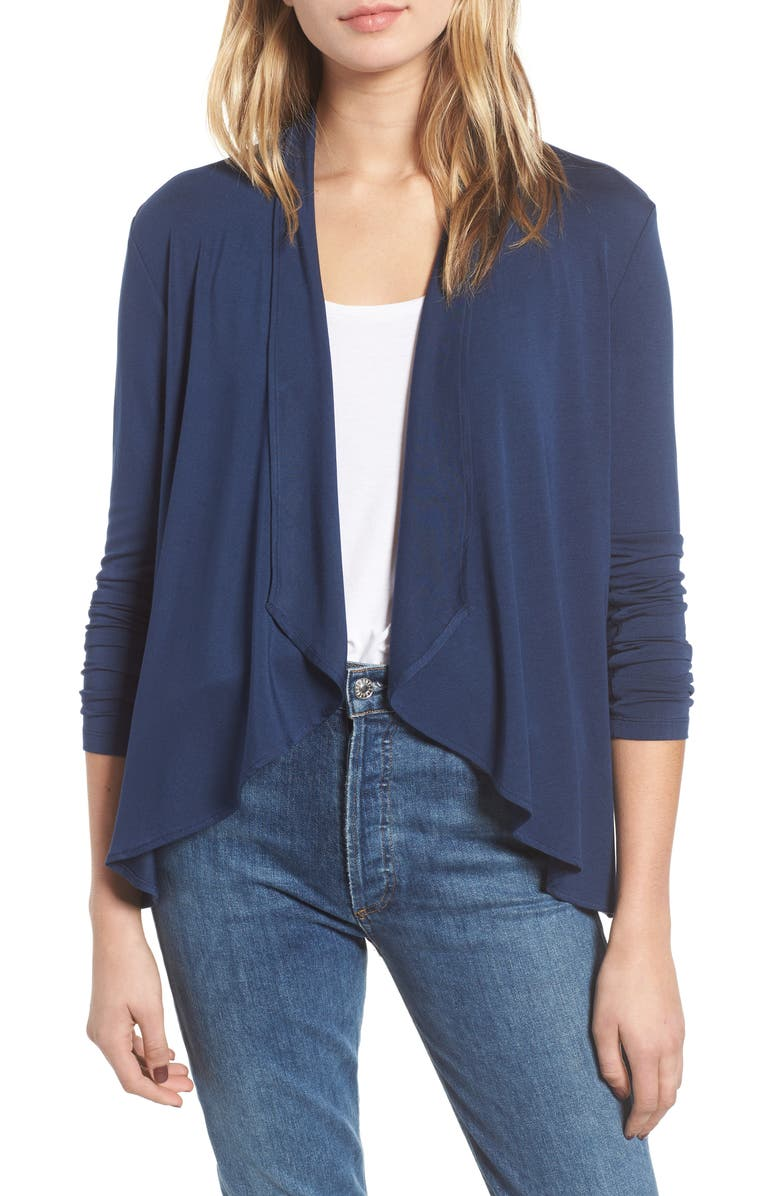 AMOUR VERT Michaela Stretch Modal Cardigan, Main, color, NAVY