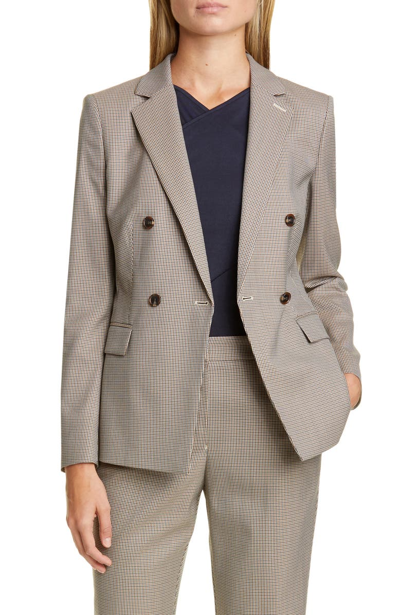 BOSS Jacelynne Check Suit Jacket, Main, color, CAMEL FANTASY