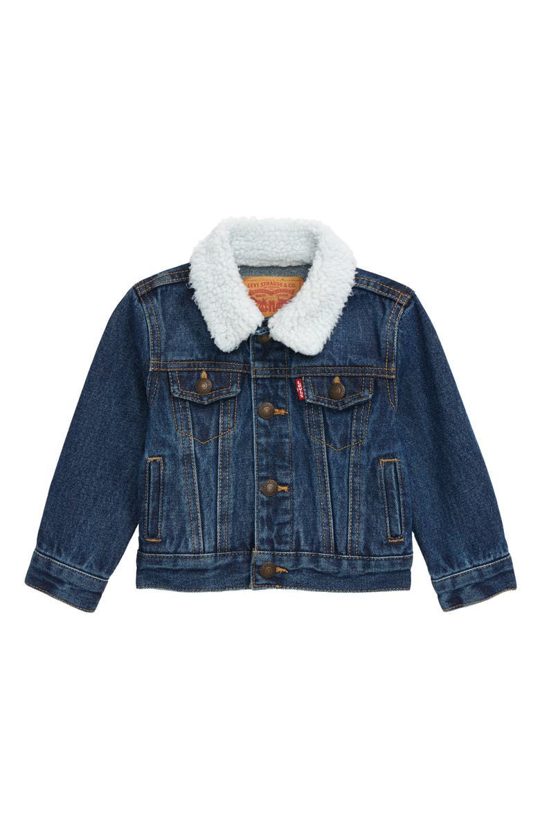 LEVI'S<SUP>®</SUP> Faux Shearling Denim Trucker Jacket, Main, color, 421