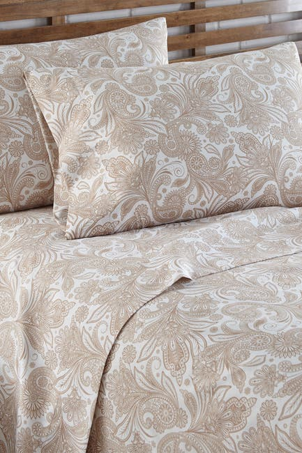 Image of SOUTHSHORE FINE LINENS King Sized Perfect Paisley Printed Sheet Set - White/Taupe Paisley