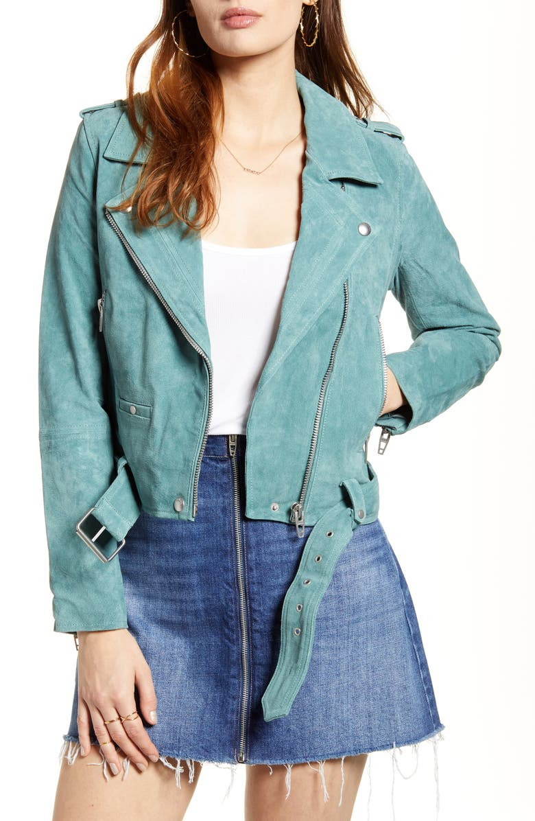 BLANKNYC Suede Moto Jacket, Main, color, SAGE GREEN