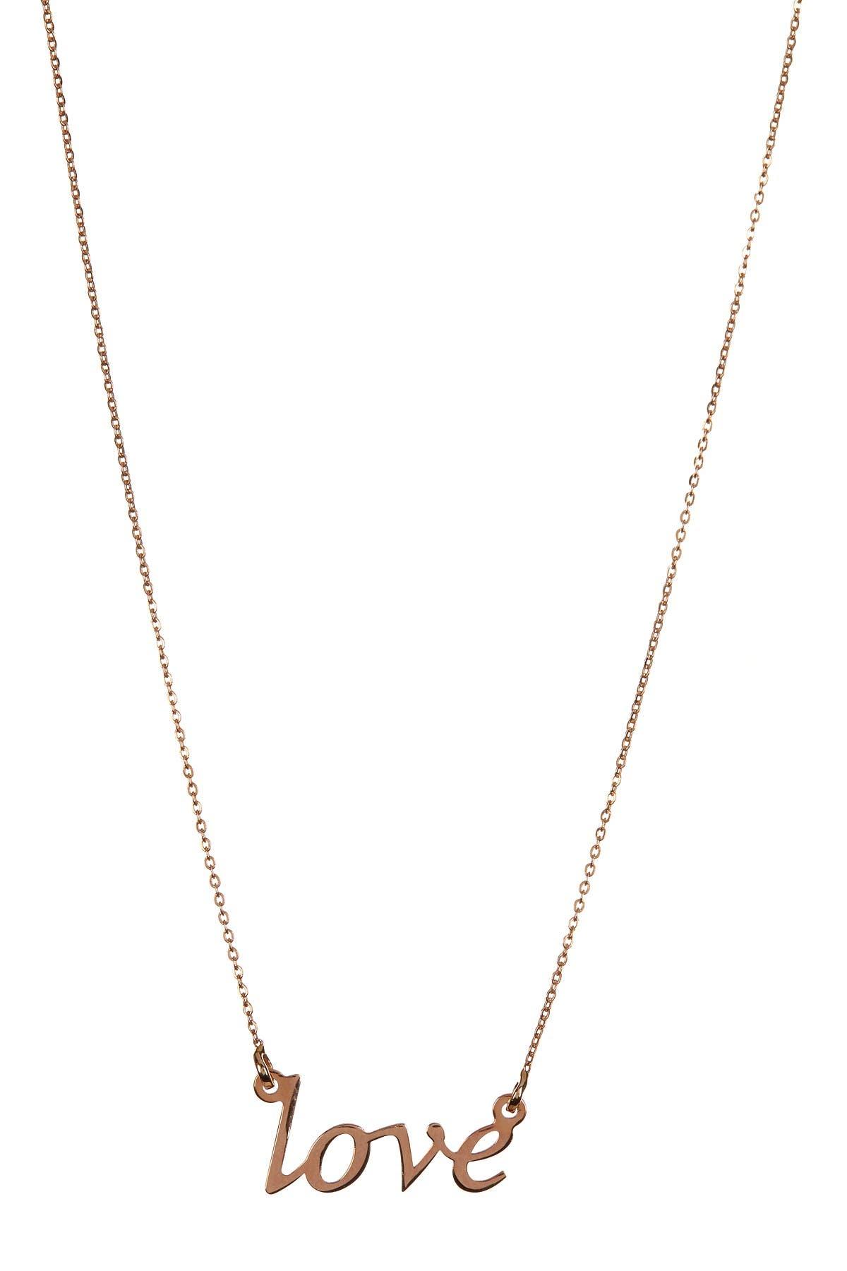Image of KARAT RUSH 14K Rose Gold Shiny 'Love' Necklace