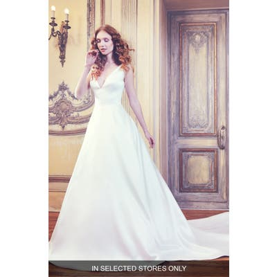 Sareh Nouri Waldorf V-Neck Shantung Gown, Size IN STORE ONLY - Ivory