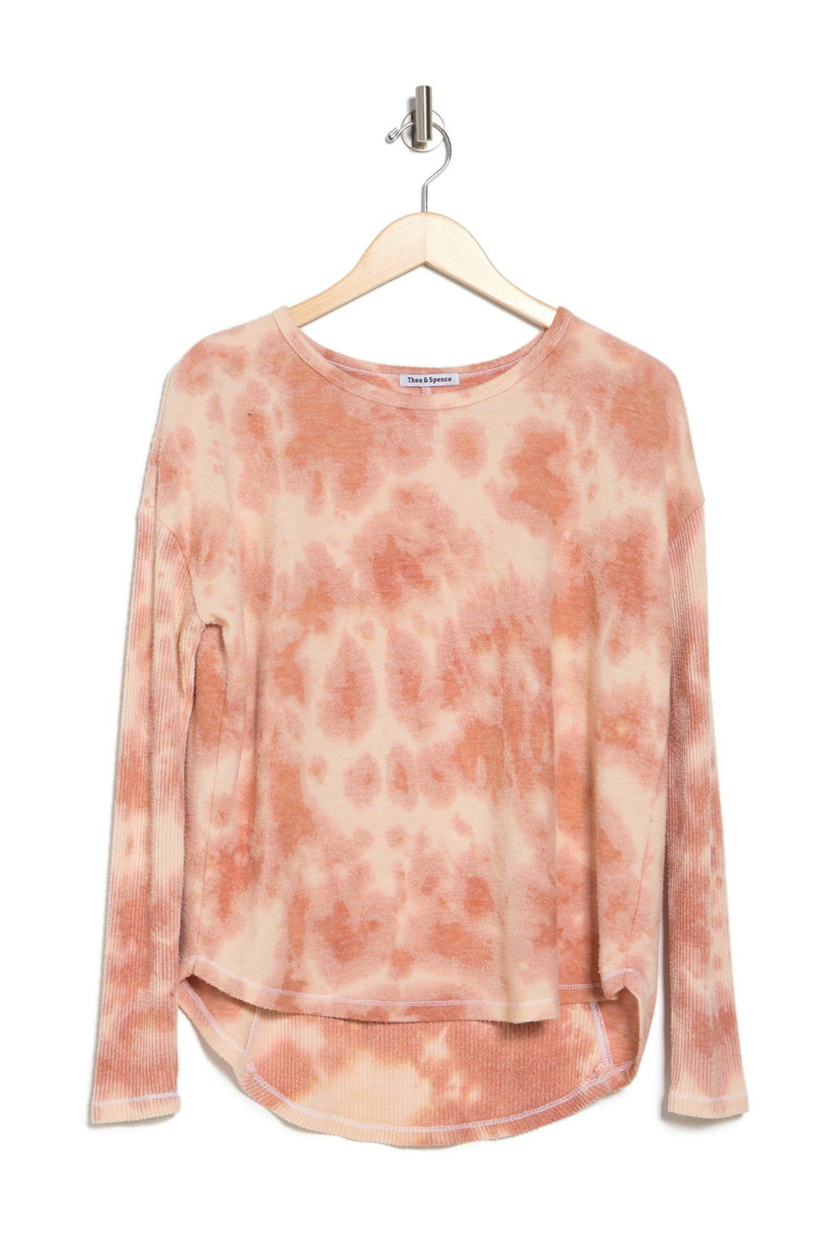 Image of Theo and Spence Tie Dye Ribbed Curved Hem Pullover
