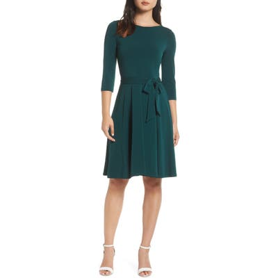 Leota Belted Print Jersey A-Line Dress, Green