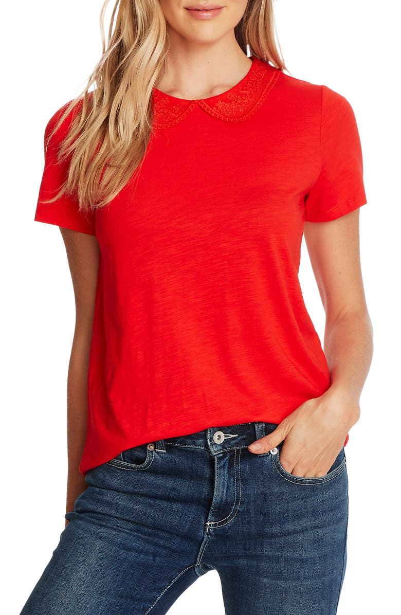 CECE Embroidered Collar Short Sleeve Cotton Blend Top, Main, color, CANDY APPLE
