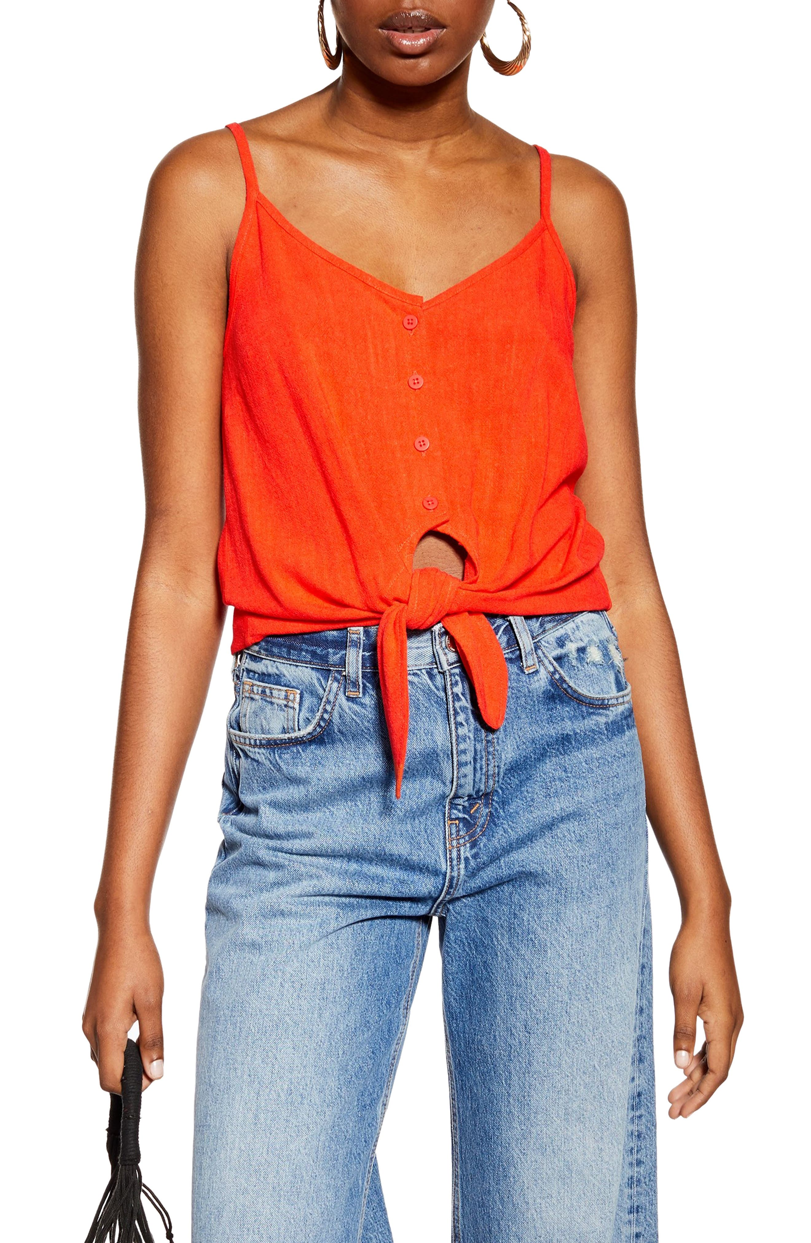 Topshop Polly Tie Front Camisole, US (fits like 14) - Orange