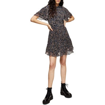 Topshop Ditsy Floral Plisse Minidress, US (fits like 0) - Black