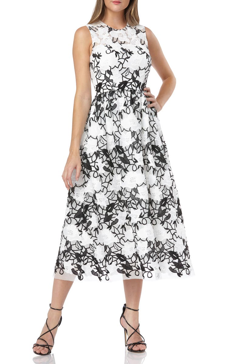 Sleeveless Embroidered Midi Dress by Carmen Marc Valvo Infusion