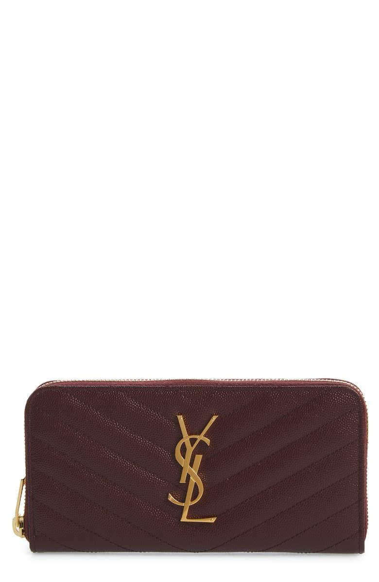 SAINT LAURENT 'Monogram' Quilted Leather Wallet, Main, color, ROUGE LEGION