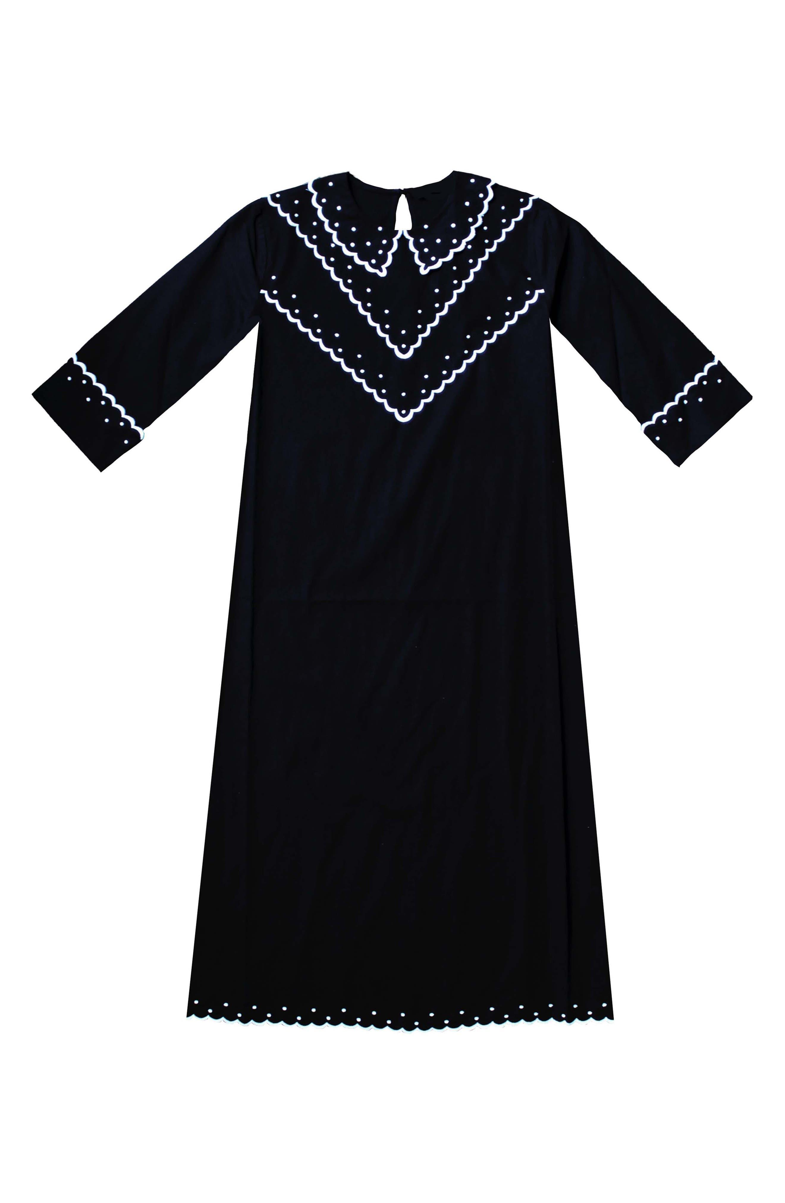 Shirley Contrast Embroidered Poplin Dress