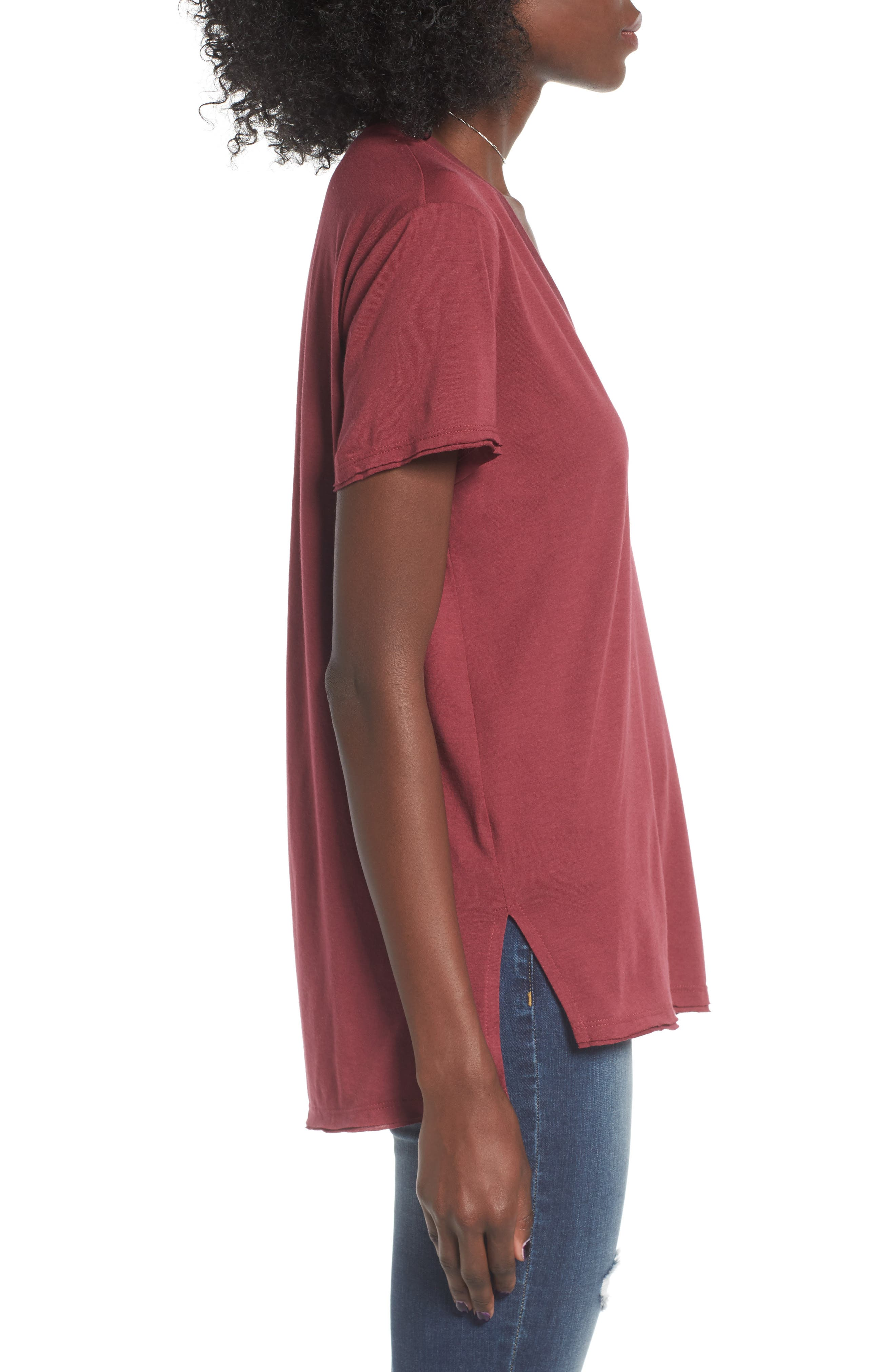 ,                             Raw Edge Side Slit Tee,                             Alternate thumbnail 44, color,                             930