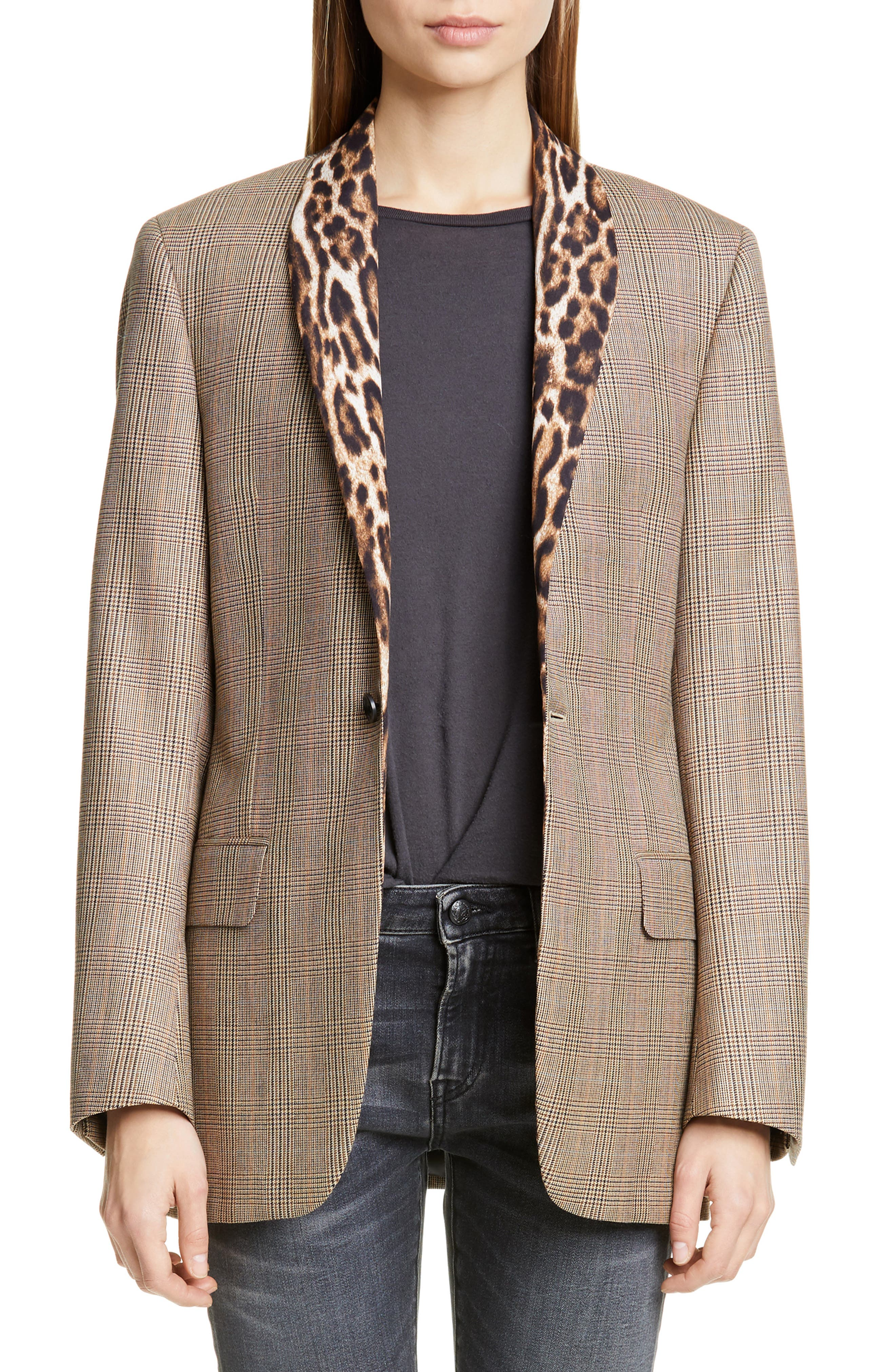 R13 Coats Mixed Print Shawl Collar Jacket