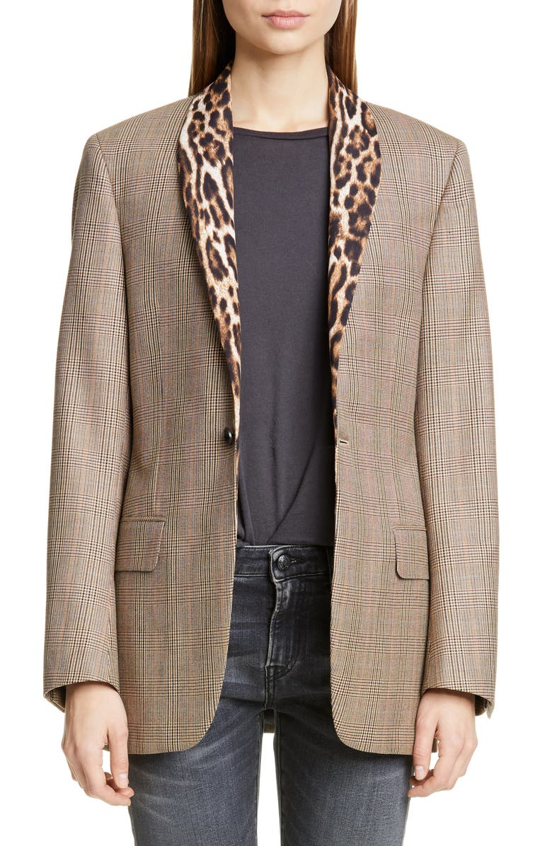 R13 Mixed Print Shawl Collar Jacket, Main, color, BROWN GLENPLAID W/ LEOPARD