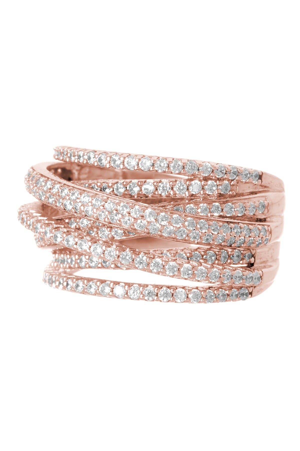 Image of Sterling Forever 14K Rose Gold Vermeil CZ Pave Curved Band Ring