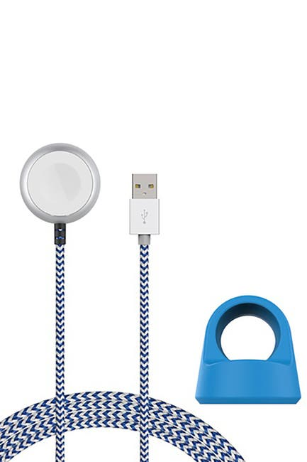 Image of POSH TECH Blue/White Certified 5Ft Braided Apple Watch Charging Cable & Stand 2-Piece Set