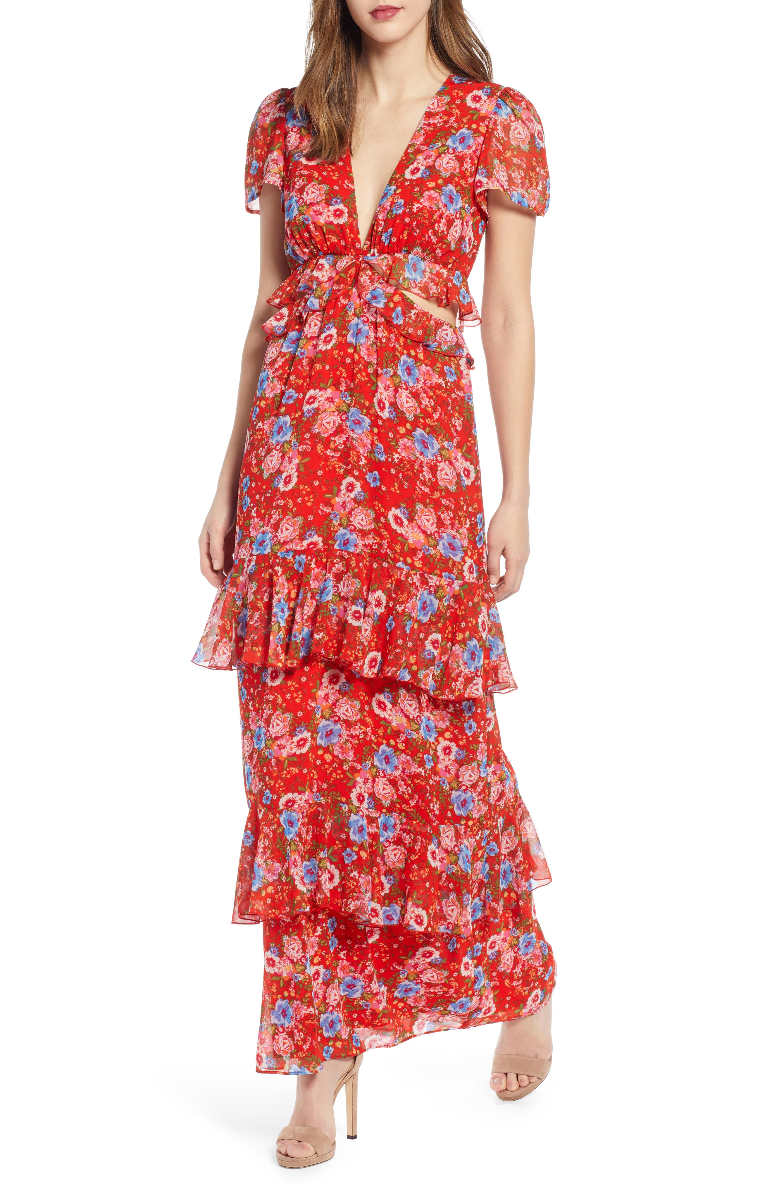 Wayf Lavina Tiered Maxi Dress, Red