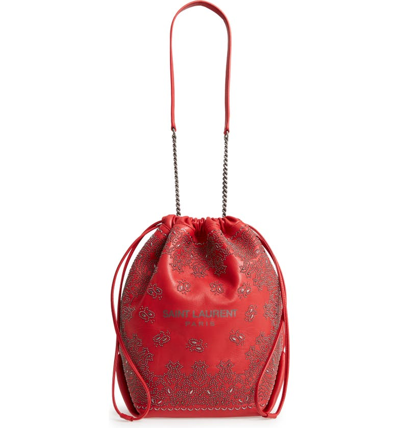 SAINT LAURENT Teddy Bandana Studded Leather Bucket Bag, Main, color, 604