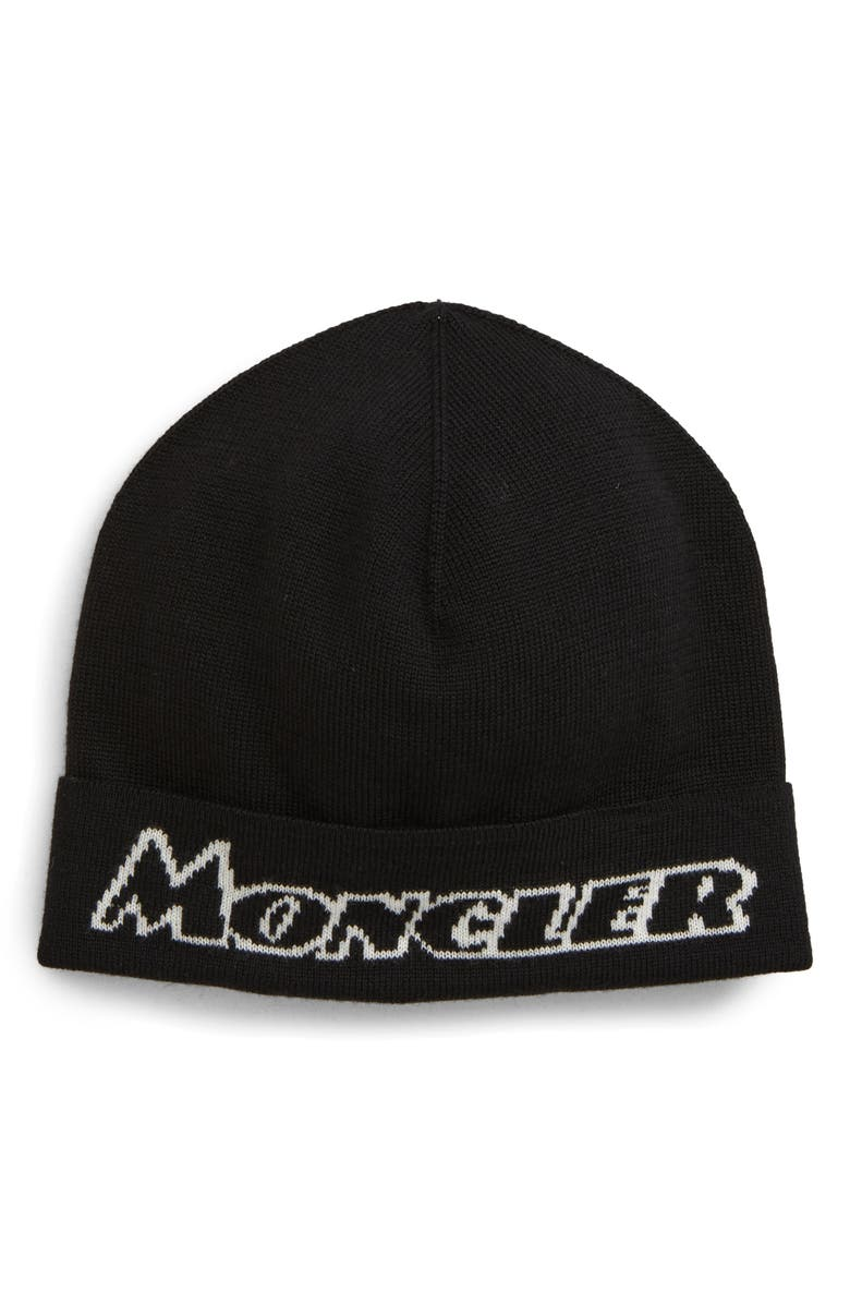 MONCLER Logo Beanie, Main, color, BLACK