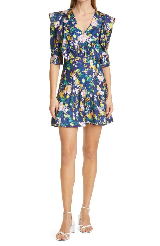 Tanya Taylor Floral Puff Sleeve Dress In Multicolor Floral Navy Multi