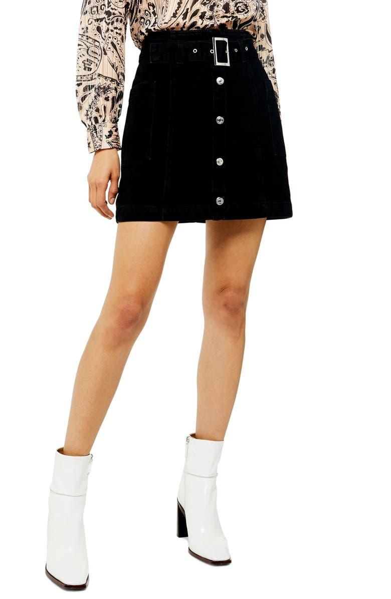 TOPSHOP Belted Miniskirt, Main, color, WASHED BLACK