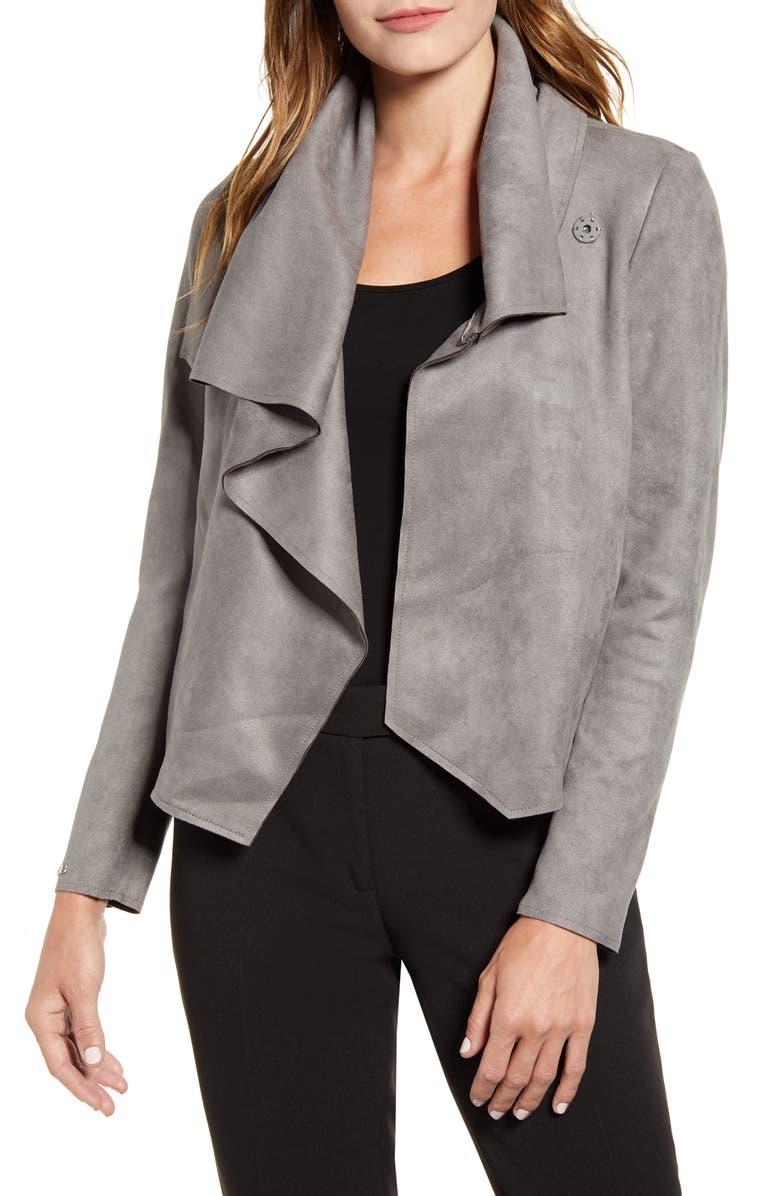ANNE KLEIN Faux Suede Jacket, Main, color, ZINC