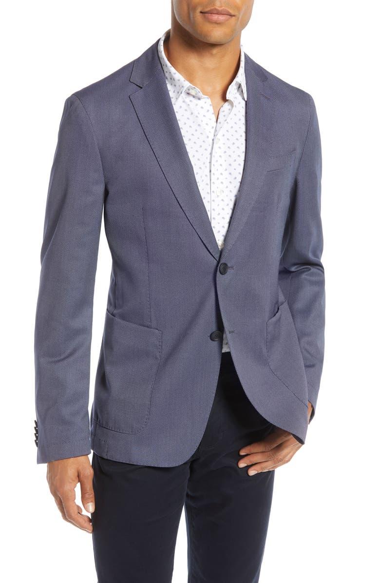 HUGO BOSS Hooper Trim Fit Solid Wool Blend Sport Coat, Main, color, OPEN BLUE