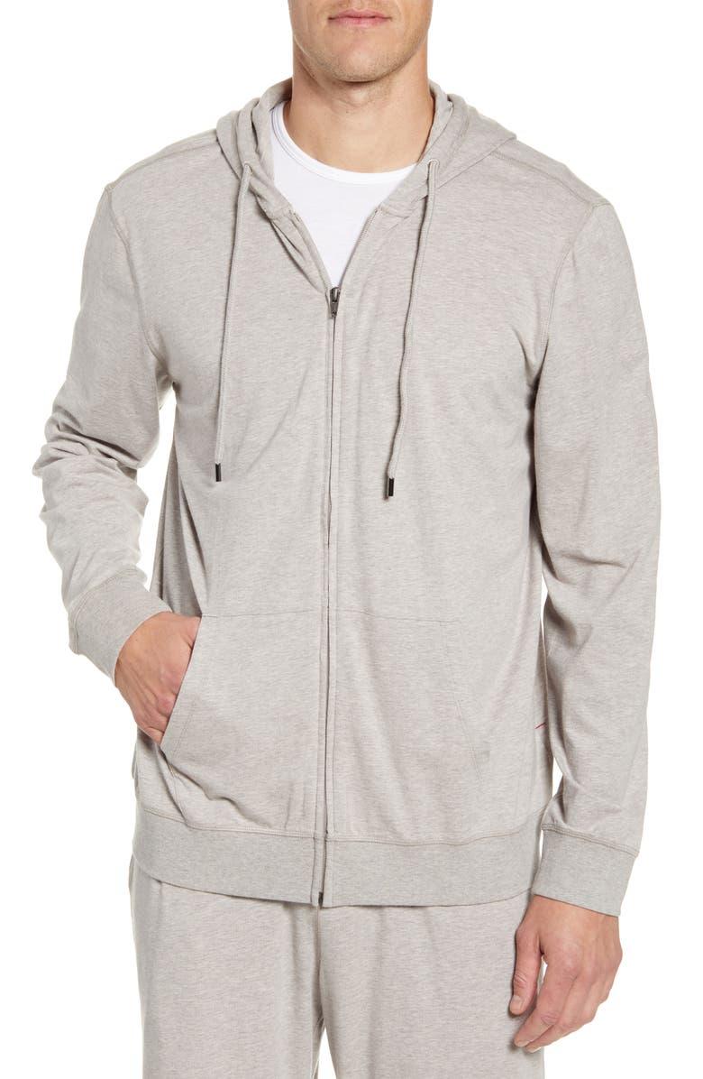 DANIEL BUCHLER Cotton Blend Zip Hoodie, Main, color, SAND