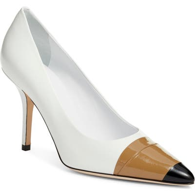Burberry Annalise Tape Cap Toe Pump, White