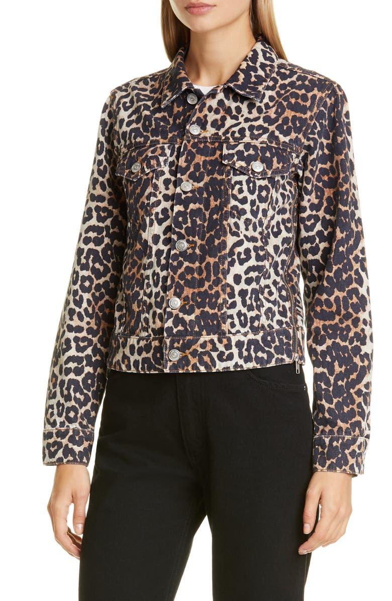 GANNI Leopard Print Side Zip Denim Jacket, Main, color, LEOPARD
