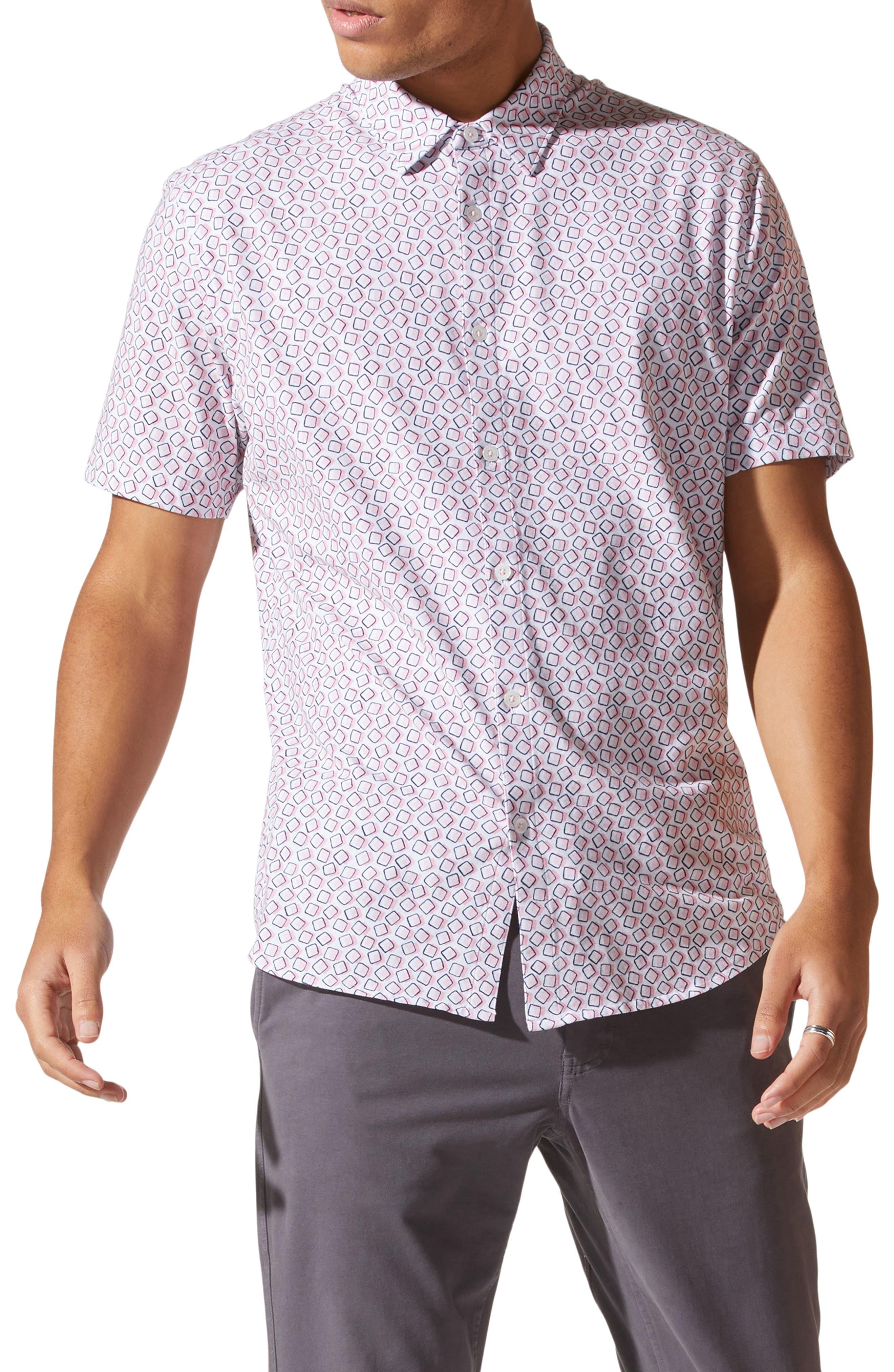 Flex Pro Slim Fit Print Short Sleeve Button-Up Shirt