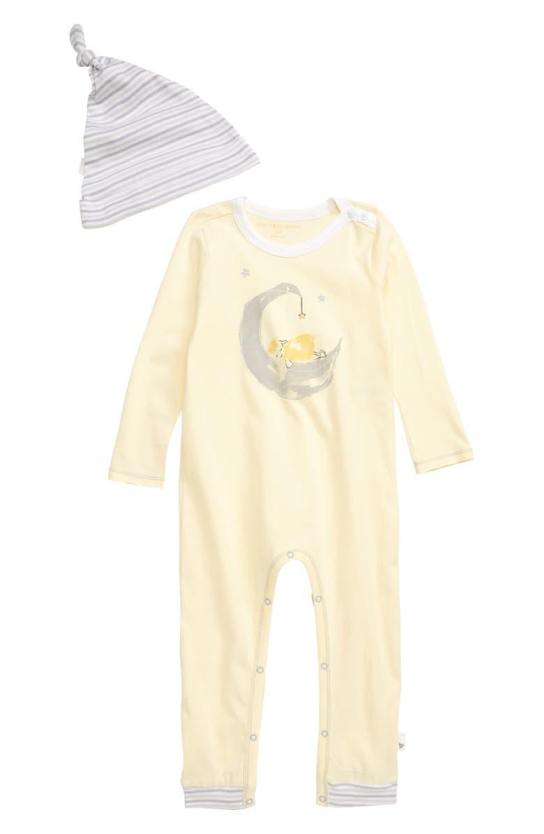 BURT'S BEES BABY Lamb in the Moon Romper & Hat Set, Main, color, PEAR