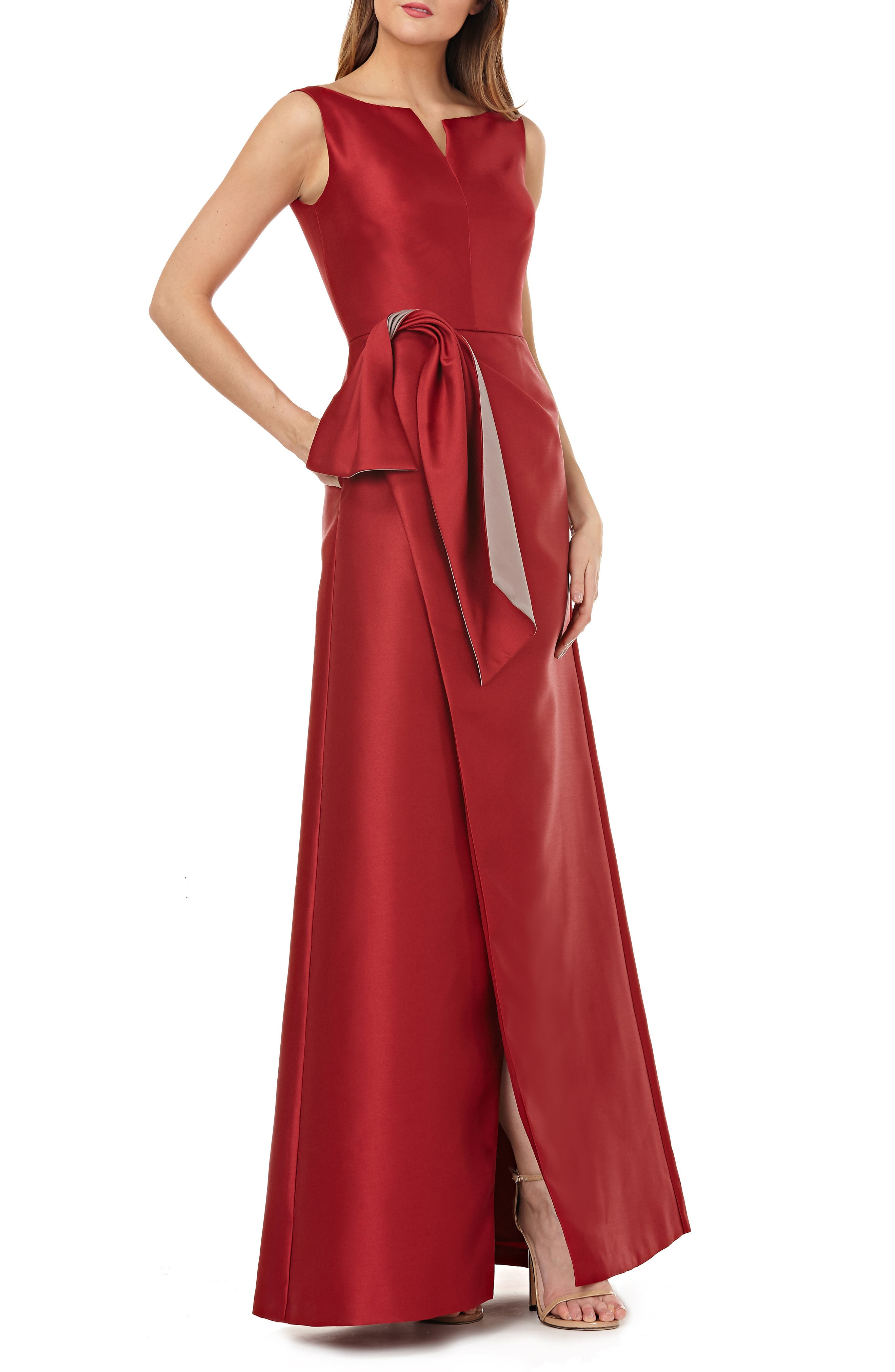 Kay Unger Twist Bow Mikado Gown, Red