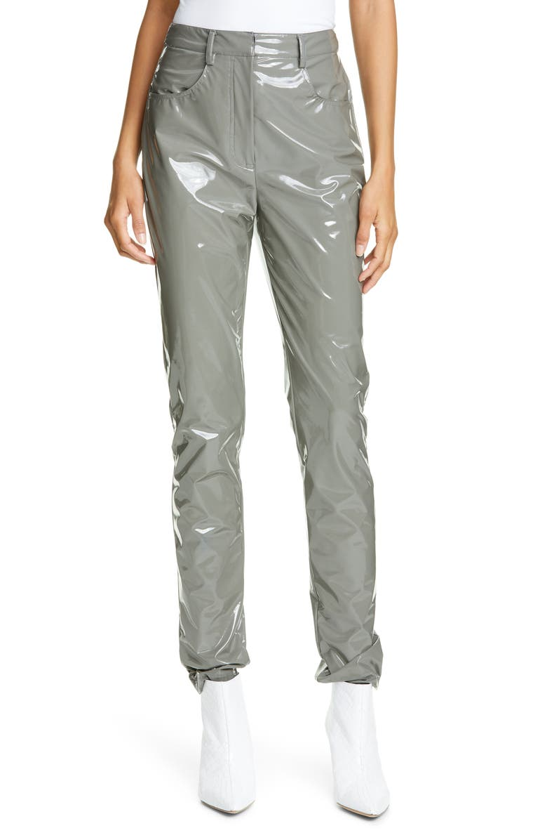 TIBI Skinny Tech Patent Trousers, Main, color, CEMENT