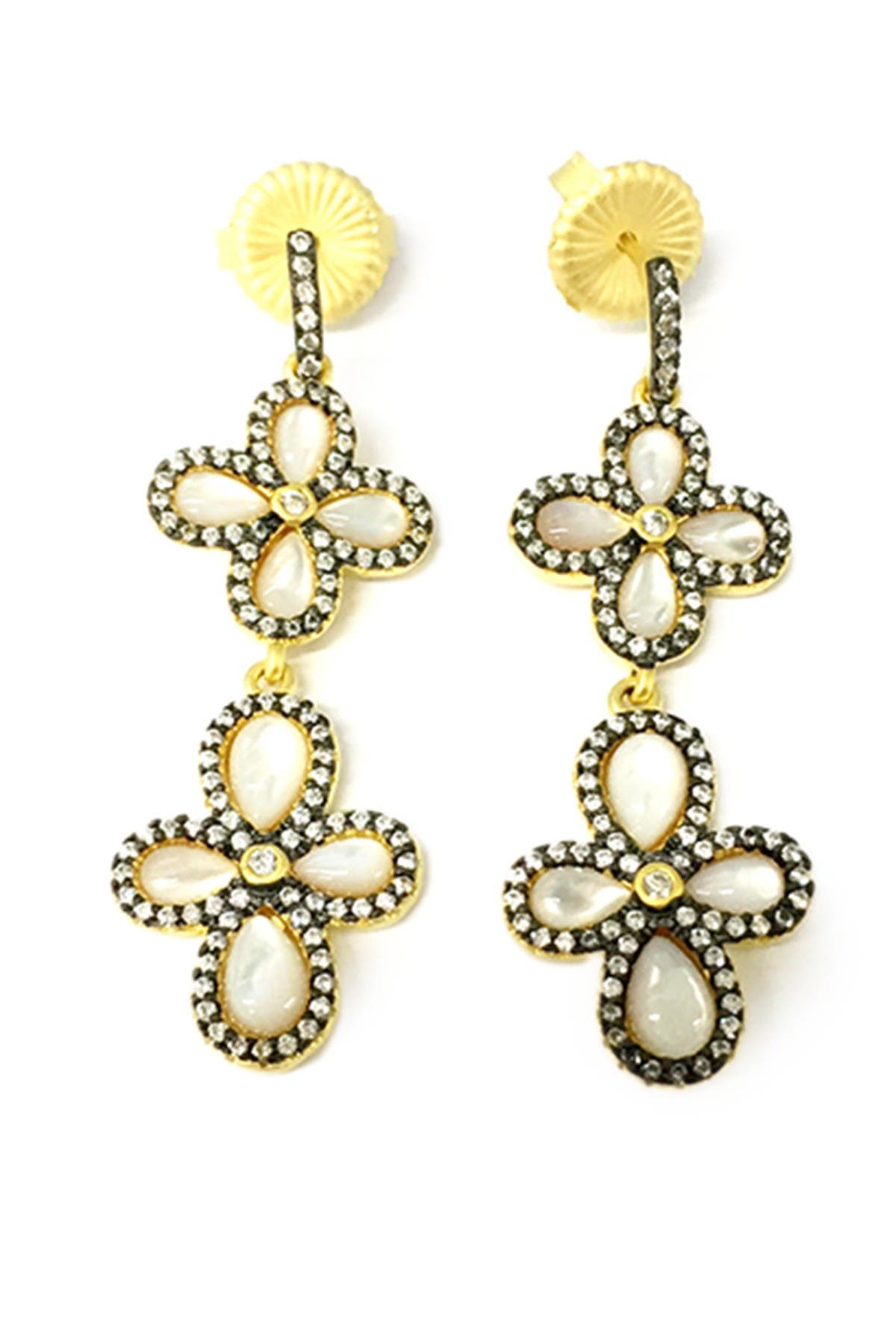 Image of Freida Rothman Sterling Silver Double Pave CZ Clover Drop Earring