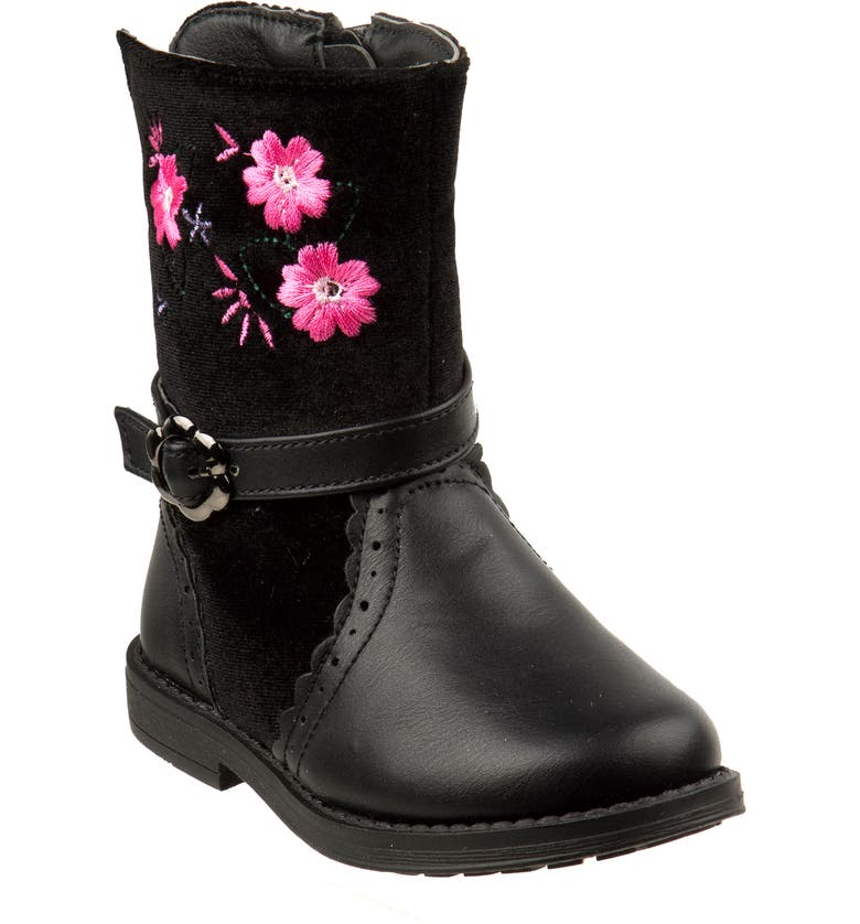 LAURA ASHLEY Embroidered Flower Boot, Main, color, BLACK