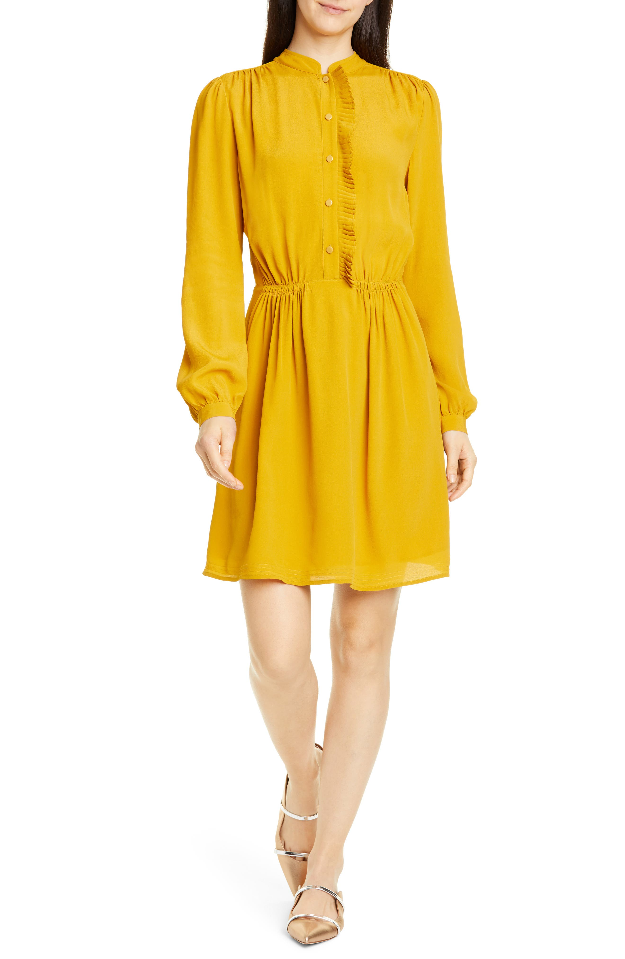 Equipment Davignon Ruffle Placket Minidress, Yellow