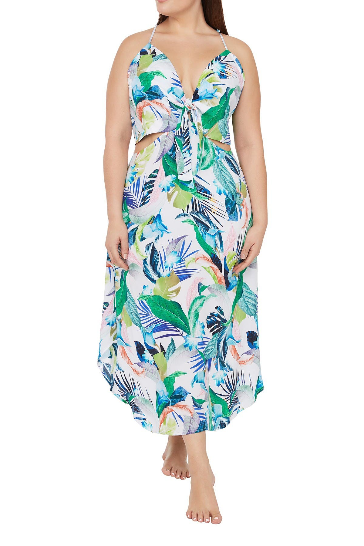 Image of La Blanca Swimwear Printed Tie Front Cover Up Dress