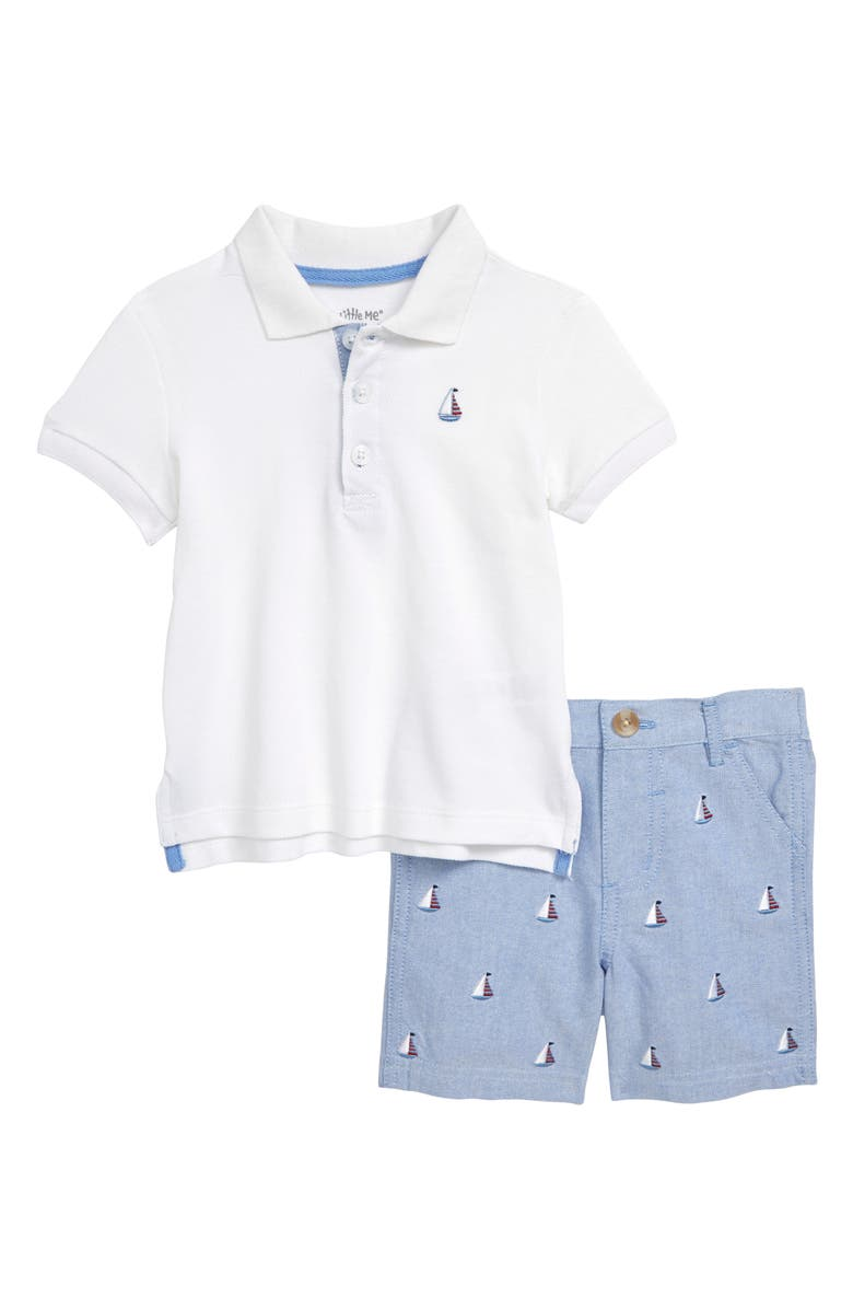LITTLE ME Sailboat Polo & Shorts Set, Main, color, 457