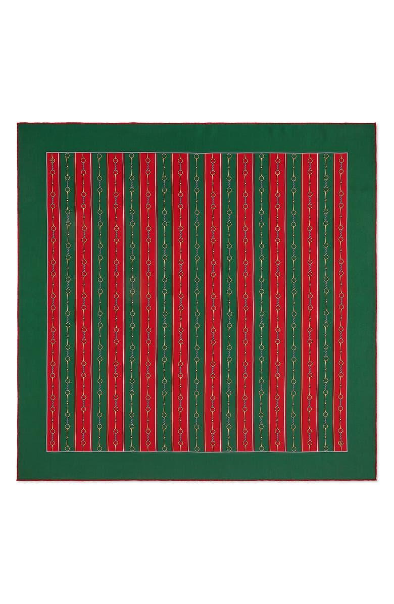 GUCCI Stripe Horsebit Print Silk Scarf, Main, color, GREEN/ RED