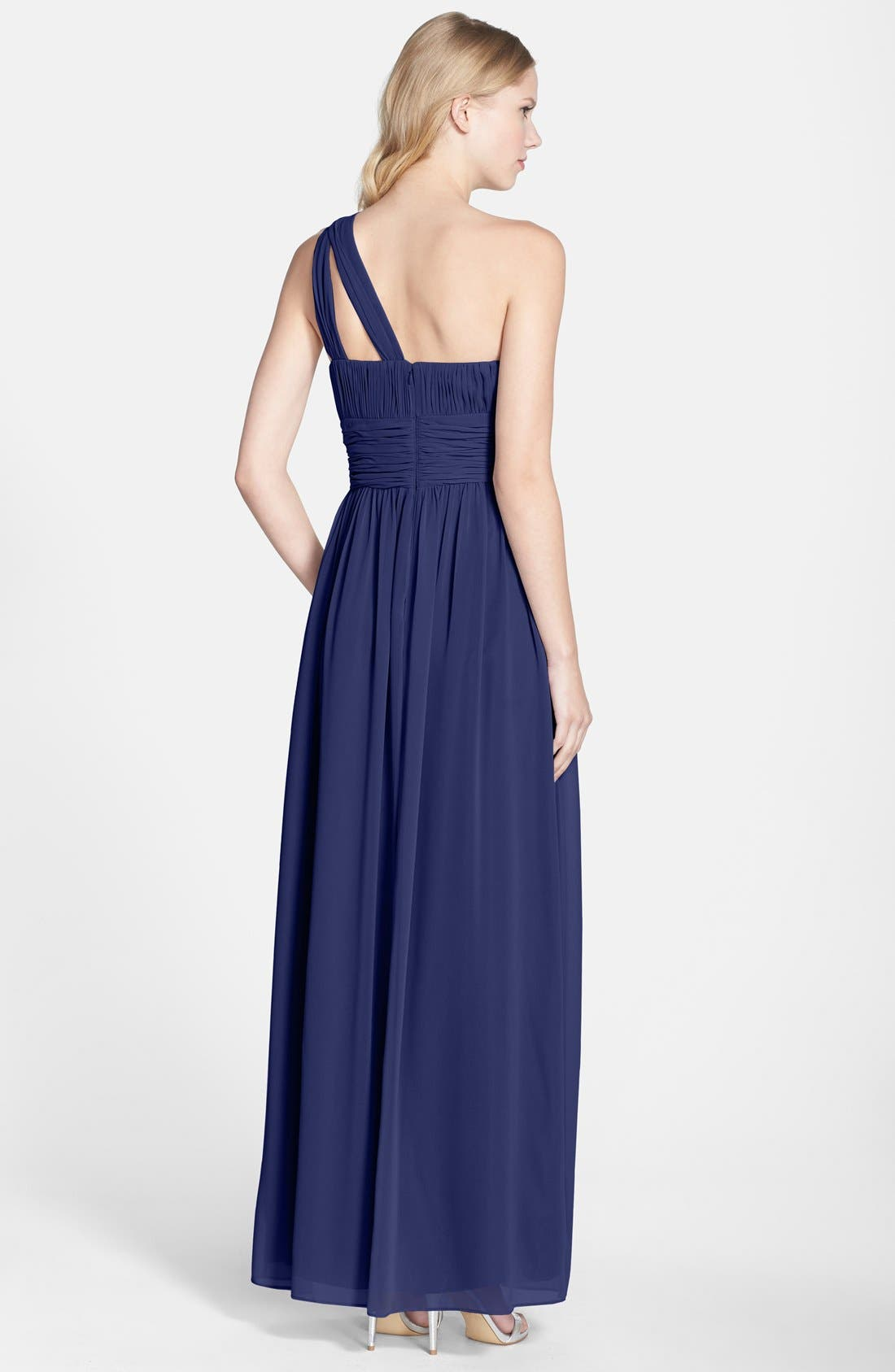 ,                             'Rachel' Ruched One-Shoulder Chiffon Gown,                             Alternate thumbnail 79, color,                             454