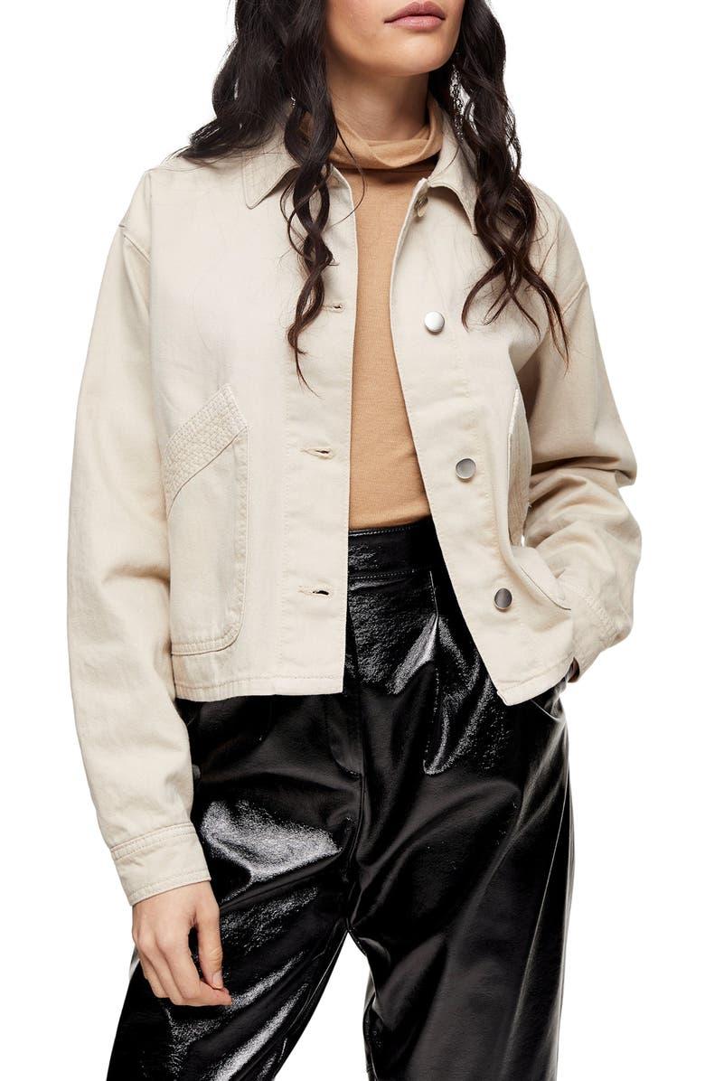 TOPSHOP Boxy Crop Shirt Jacket, Main, color, CREAM