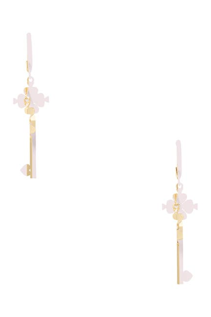 Image of kate spade new york lock & spade legacy CZ logo drop earrings
