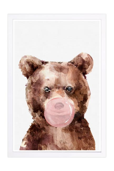 Image of Wynwood Studio Brown Bear Bubblegum Brown Animals Framed Wall Art