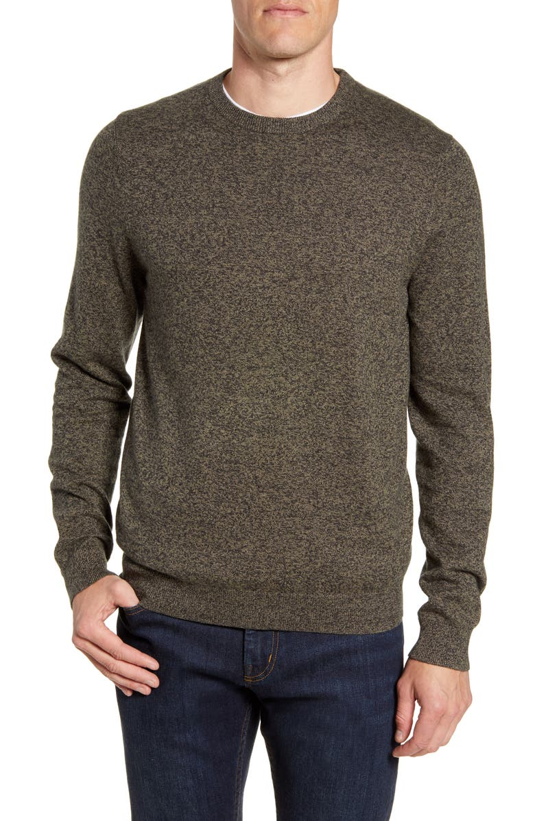 NORDSTROM MEN'S SHOP Cotton & Cashmere Crewneck Sweater, Main, color, GREEN FOREST MARL
