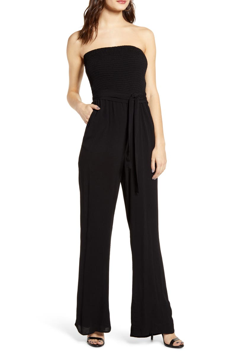 SOCIALITE Smocked Bodice Strapless Jumpsuit, Main, color, BLACK
