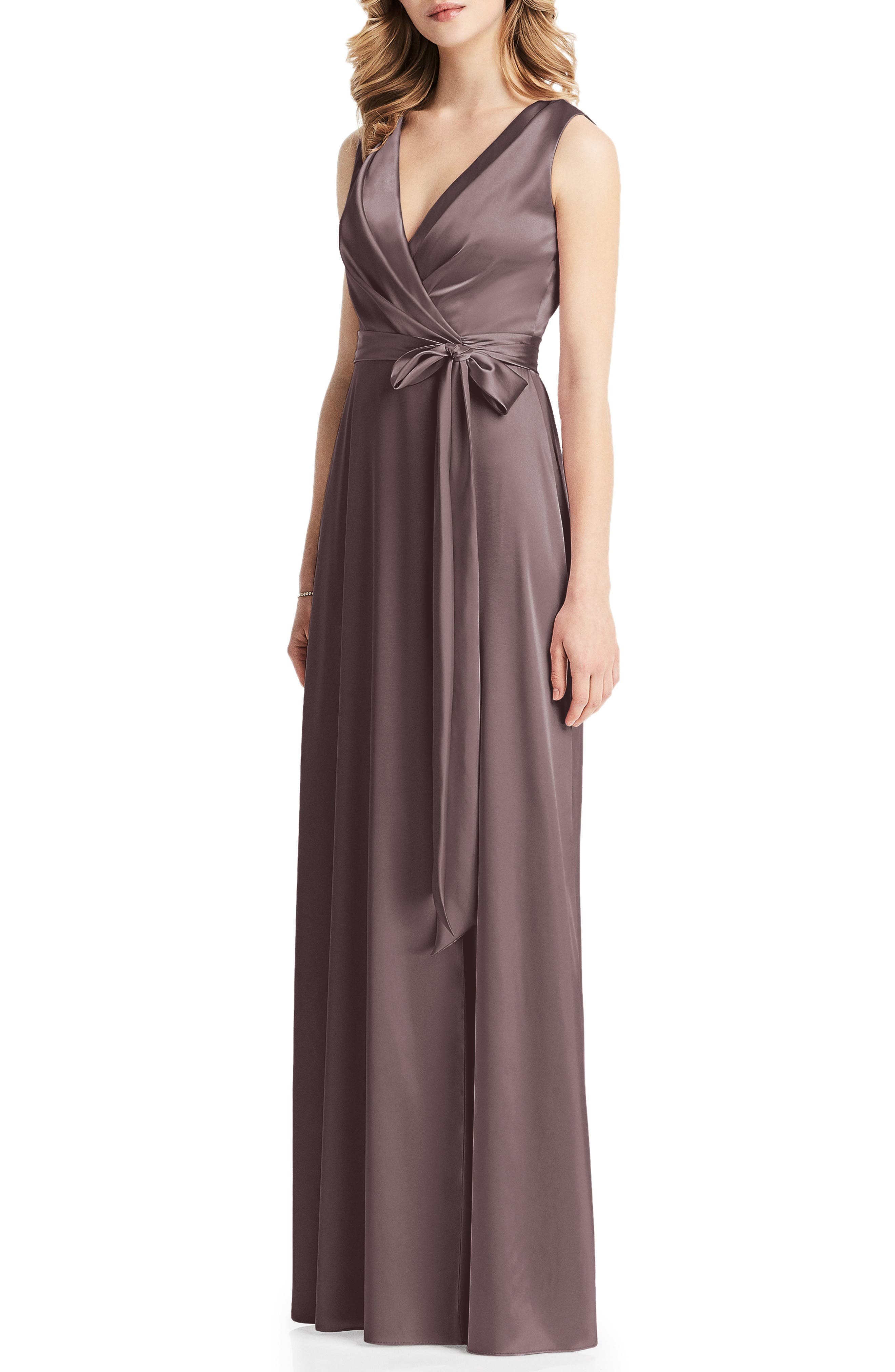 Jenny Packham Stretch Charmeuse Wrap Gown, Beige