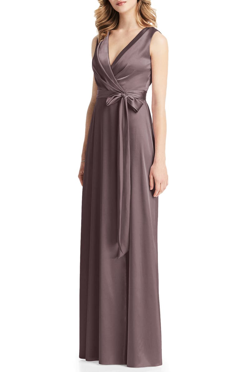 JENNY PACKHAM Stretch Charmeuse Wrap Gown, Main, color, FRENCH TRUFFLE